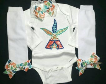 Native baby girl onesie leg warmers hair bow headband Thanksgiving 4 piece set applique Tee Pee feathers 12 mos 6 mos 3 to 9 mos NB handmade
