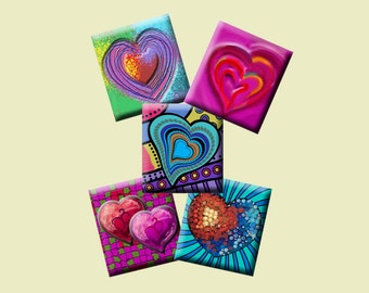 FUNKY HEARTS - Digital Collage Sheet .75 x .83 inch Scrabble Tile Images. Pendants, magnets, earrings, scrap-booking. Instant Download #210.