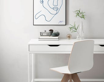"""Original one line painting, with white and blue acrylic in Minimal Scandinavian Style - Modern art, Fine Art for Minimalists 18"""" x 24"""""""