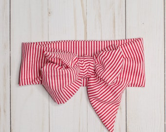 Red Striped: headwrap, baby headwrap, toddler headwrap, red baby headband, striped, cotton, bow, toddler headband