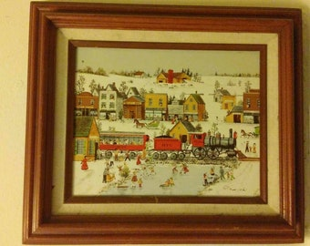 R. Smith Oil Painting of  Upstate New York Train 25107 Arrival Winter Landscape Snow and Ice Skaters