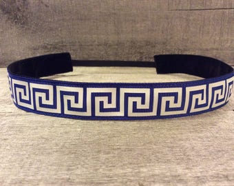 Navy Greek Key Nonslip Headband, Noslip Headband, Sports Headband, Running Headband, Athletic Headband