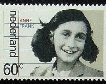 Anne Frank Nederland -Handmade Framed Postage Stamp Art 12826