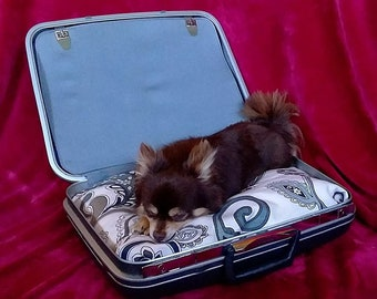 Suitcase Dog/Cat Bed, Portable Dog/Cat Bed, Travel Dog/Cat Bed, Stores Dog and Cat Blankets, Toys, Etc. Handmade Dog/Cat Bed