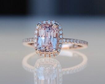 Ice peach champagne sapphire 14k rose gold diamond ring engagement ring 2ct cushion sapphire ring by Eidelprecious