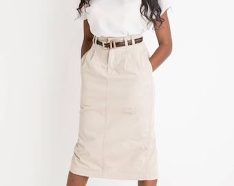 90s Khaki Pencil Skirt S