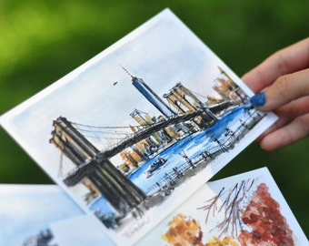 Collection of 5 - New York City Watercolor Prints or Postcards