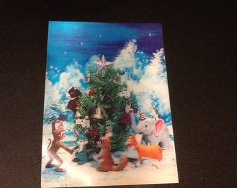 Lenticular christmass tree animal scene 3d post card new old stock Japan