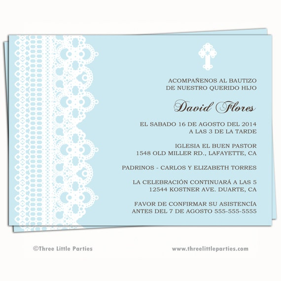 Spanish or english baptism invitation printable lace boy stopboris Gallery