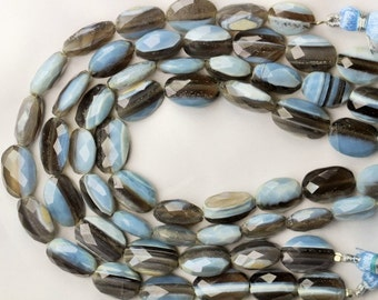 8 inch long strand faceted BOLDER OPAL oval beads 4 x 9 x 13 -- 7 x 11 x 15 mm