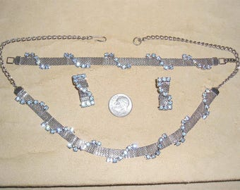 Vintage Baby Blue Rhinestone Mesh Choker Necklace Bracelet And Clip On Earrings  1960's Jewelry Set 11036