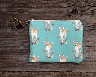 Floral Deer Clutch, Coin Purse, Zipper Pouch, Women's Birthday Gift, Bridal Shower Gift, Metallic Gold Bag, Deer Silhouette Bag, Fawn Clutch