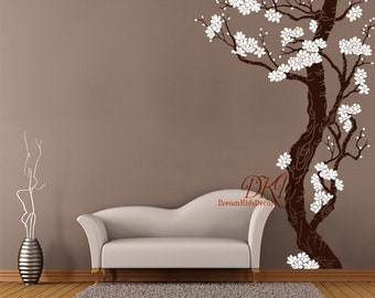 Plum Blossom Tree Wall Decal, Large Wall Murals, Corner Cherry blossom Tree, Wall art, Hand painted Style -DK131