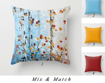 Blue Pillow, Tree Pillow, Red Yellow Throw Pillows, Birch Pillow, Solid Color Pillows, Decorative Pillow Covers, Couch Pillows, Sofa Pillows