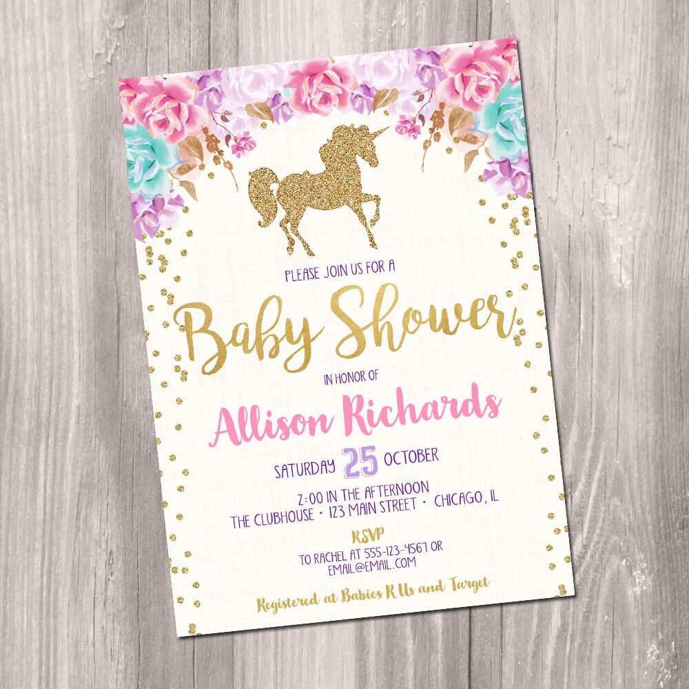 Unicorn baby shower invitation girl baby shower invitation