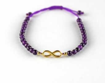 Silver Infinity Bracelet with Amethyst Stones