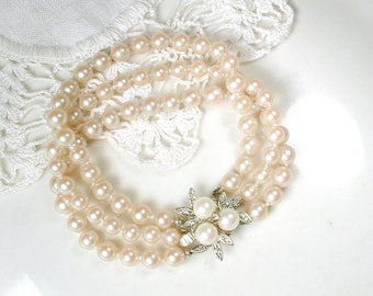 Vintage Art Deco Pearl Bracelet, Multi Strand Ivory Glass Pearl Bridal Bracelet, Ornate Silver Pave Rhinestone Clasp Great Gatsby Wedding