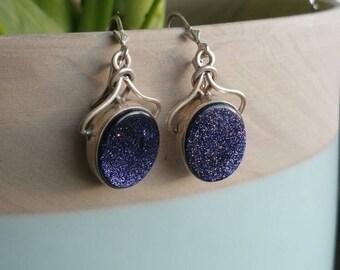 Blue Goldstone Sterling Silver Earrings gemstone earrings