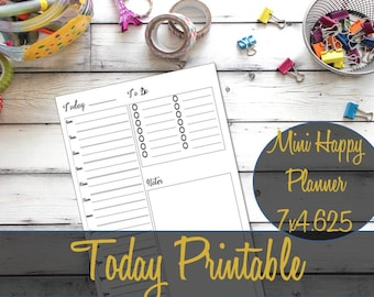 Mini Happy Planner Hourly Insert, Mini Happy Planner Inserts, Today Insert, Create 365 Refill, Hourly Schedule, Recollections, Mambi Refill