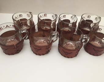 Vintage Set of Eight Bamco Coffee Mugs Longhorn Steer with Leather Coaster