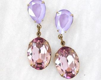 Lilac Lavender Dangle Earrings Swarovski Crystal Lilac Purple Light Amethyst Duchess Hourglass Dangles Stud Post of Clip on Earrings Bridal