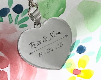 Personalized Heart Shape Keychain for Valentines Day, Wedding Anniversary
