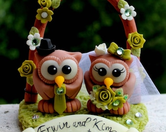 Wedding cake topper, chocolate owl bride and groom with floral arch and banner, apple green wedding