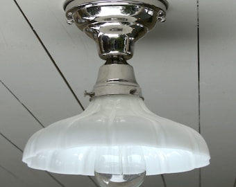 Vintage / Antique style, flush mount, polished nickel, single sheffield ceiling light.