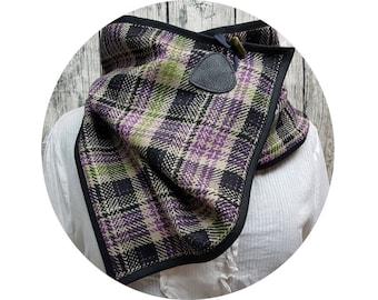 Winter scarf, winter towel, winter, autumn, scarf, shawl, scarf, scarf, xxl-cloth, checkered, diamonds, purple, black, wool, wrapped