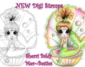 DESCARGA instantánea Digital Digi sellos grandes ojos sirena dulce Besties perla gran cabeza muñecas Digi por Sherri Baldy