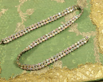 "Antique vintage 1920s iridescent rhinestone 3/8"" applique trim glass prongset punk thread intricate Edwardian flapper dress millinery dolls"