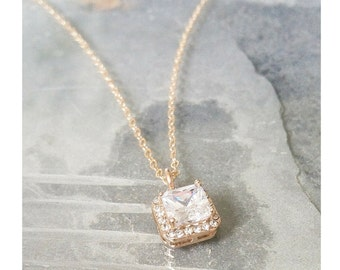 Gold CZ Halo Necklace