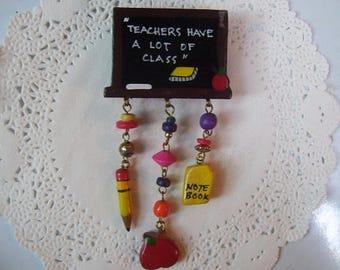 Teacher Magnet (796) - Teacher refrigerator magnet - Teacher gift - teacher jewelry - repurposed jewelry - recycled jewelry