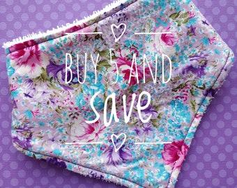 Buy 5 and save - cotton or bamboo bandana dribble bib (choose backing fabric)