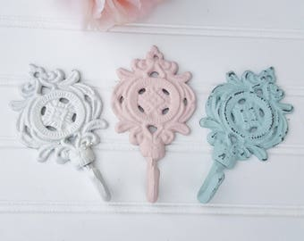 Vintage Wall Hook ~ Small Cast Iron Hook ~ Armoire Hook ~ Towel Hook ~  Shabby Chic Wall Hook ~ Nursery Wall Hook ~French Country Hook