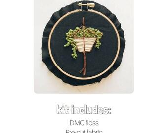 Botanical Embroidery Kit   DIY Embroidery Kit   Hanging Plant Embroidery   Boho