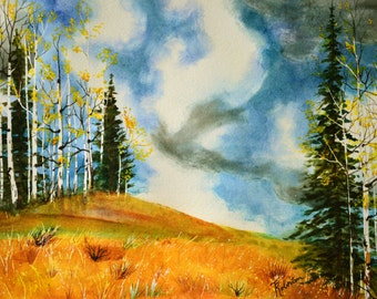 Sky painting watercolor painting fine art painting original landscape watercolor landscapes painting blue sky clouds small painting fall