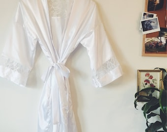 White Silk Robe with Lace
