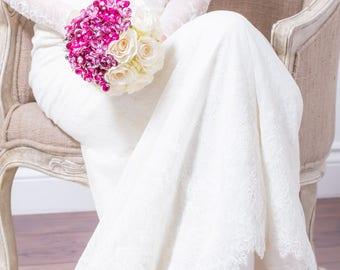 Wedding Bouquet - Ivory Rose & Metallic Pink Flower Bridal Bouquet - Pink Wedding Bouquet, Rose Bouquet, Fabulous Brooch Bouquet Alternative