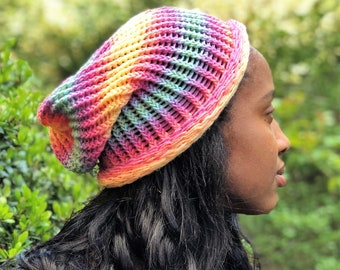 Teen/Adult Lightweight Knitted Summer Beanie with Pretty Pastels. Perfect for Summer festivals. Free UK Delivery