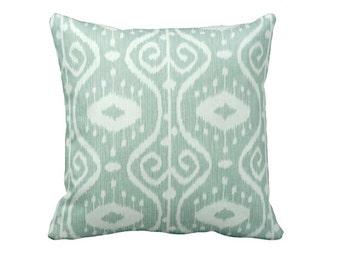 One 24x24 Euro Pillow Cover Throw Pillow Decorative Pillow Aqua Pillow Sea Foam Green Pillow Green Pillow Ikat Pillow