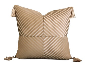 "Metallic Gold Striped Tassel Decorative Pillow Cover 20"" x 20"""