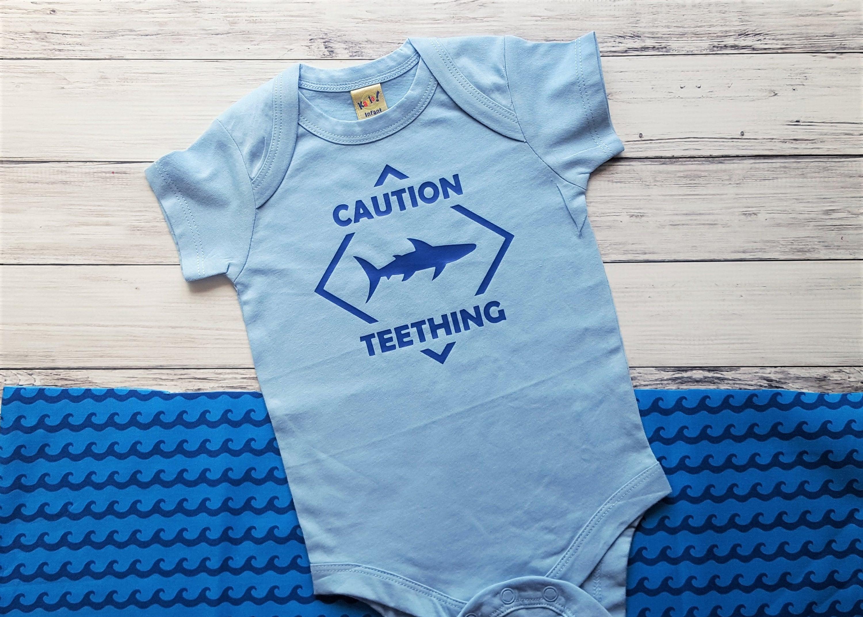 Shark Shirt Baby Bodysuit Caution Teething Top Teething