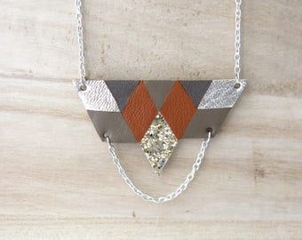 Necklace, Geometric, Leather, Diamond, Camel, Taupe, Gold