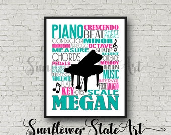 Personalized Piano Poster Typography, Piano Player Gift, Piano Art, Piano Gift, Custom Piano, Gift for Piano Player, School Band Gift
