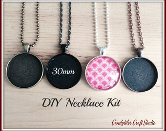 20pc..DIY Circle Pendant Tray Necklace Kit..30mm...includes chains, glass Inserts,  trays..Mix and Match color trays.