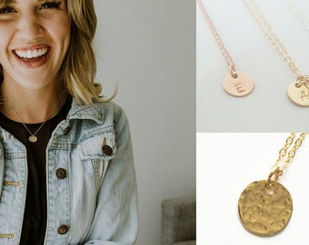 Gold Initial Necklace - Personalized Jewelry - Bridesmaid Necklace - Flowergirl Necklace - Best Friend Necklace - Rose Gold Jewelry - Silver