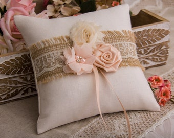 Cottage Chic Ring Bearer Pillow, Blush Ring Pillow, Burlap and Lace Ring Bearer Pillow, Flower Wedding Pillow, Rustic Ring Pillow