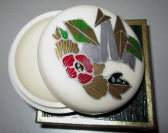 Vintage Pill Box in Cream with Flowers/Towers by Sarsaparilla ~ Style # 3 Cream
