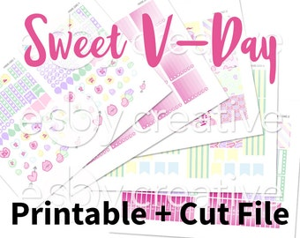 Sweet Valentines Candy Hearts Theme - Weekly Sticker Kit Printable for Erin Condren Horizontal - HWK-040 - INSTANT DOWNLOAD